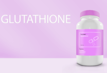 A pill bottle titled Glutathione on a pink background - long long life supplement transhumanism longevity